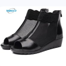 2017 New Breathable and Comfortable Mesh Genuine Leather Shoes Wedge Sandals Fish Mouth Rhinestone Fashion Shoes Women Sandals(China)