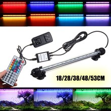 Smuxi Submersible RGB LED Fish Tank Air Curtain Light Tube 18/28/38/48/53CM Bar Light Aquarium LED Lamp with Remote AC110-240V(China)