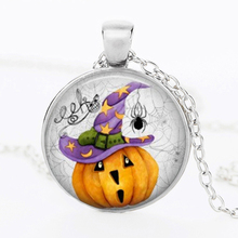 SUTEYI Halloween Crystal Necklace Black Tile Glass Dome Pendant Halloween Pumpkin Pattern Necklace Handmade Fashion Jewelry(China)