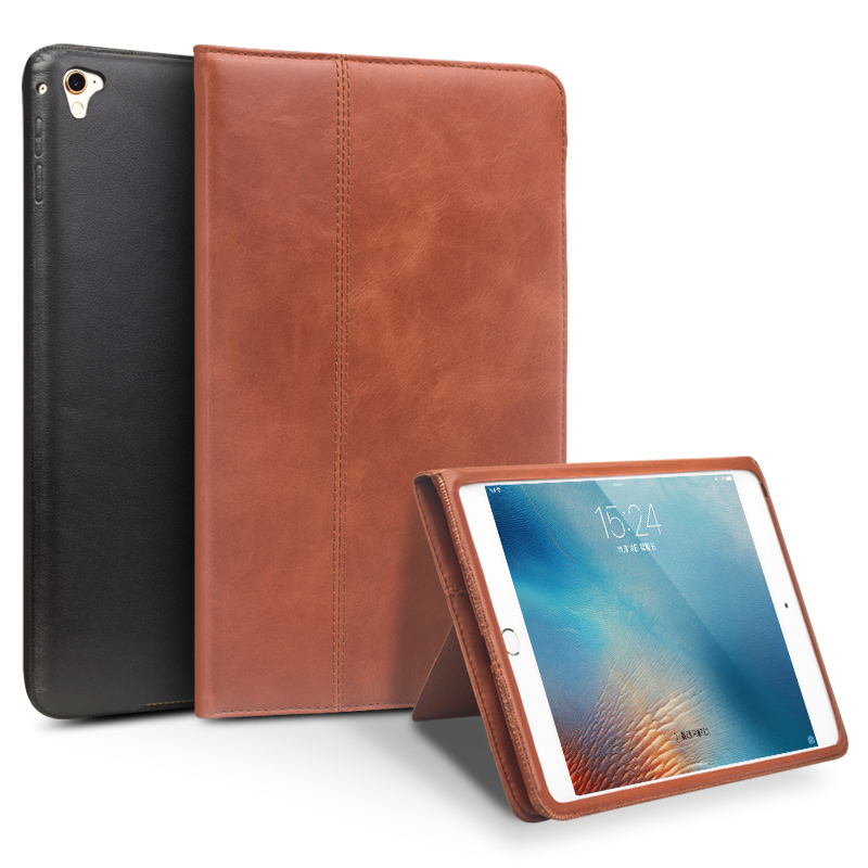 QIALINO Genuine Leather Case for iPad Pro 9.7  Flip Stents Dormancy Stand Cover Card Slot case compatible for iPad air2 <br>