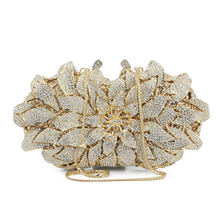 Stylish Golden Crystal Evening Bag Luxury Clutch bags Bright petals crystal bag cocktail party wedding handbags(88182A-G)