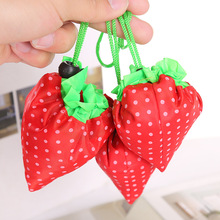 Creative Folding Strawberry Shopping Bag for Supermarket Nylon Cloth Beam Port Design Can be used as Hand Bag Decoration