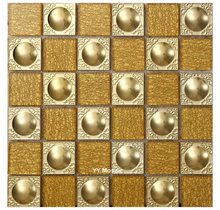 Moderne 3D Gold Metall Kristall Weiß Glas Mosaik Fliesen, Küche Backsplash  Dusche Badezimmer Wand Sticer Wand Dekoration DIY Rah. Photo Gallery