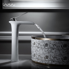 Nordic full copper cold hot basin contracted faucet puckering single put off stage leading European black and white(China)