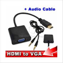 10pcs/set Male to Female HDMI to VGA Cable Adapter Converter with Audio Cable for PC Laptop HDTV for Xbox 360 PS3 HD 1080P
