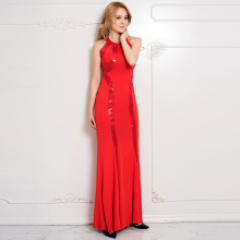 RW80189 Fashion plus size women clothing sleeveless red sequined maxi dress nice womens sexy dresses party night club dress