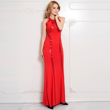 RW80189 Fashion off shoulder women clothing sleeveless red sequined maxi dress nice womens sexy dresses party night club dress(China)