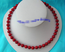 free shipping >>>> stunning 10mm round crude red coral necklace  clasp g792 6.07