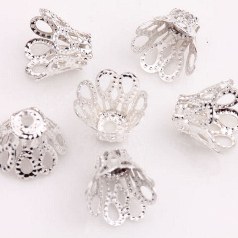 HOT SALE 100PCS 7mm Silver Bead Caps Silver Plated Flower Bead Caps Findings Filigree Flower Cup Shape  For DIY Jewelry Making