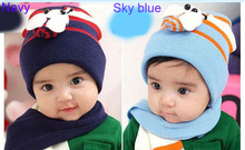 Retail 3colors Cotton Flax ladybug Scarves + hats 2 sets of headgear Children cap baby hat skull caps boy's girl's gift