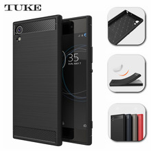 Brand Tuke Case for Sony Xperia XA1 Ultra Cover Carbon Fibre Brushed TPU Silicone Phone Cases for Sony XA 1 Ultra  Coque
