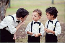 New Arrival 2016 Summer Boys Wedding Clothes With White Shirt + Black Pants Nicely Kids Tuxedo Suits Cute Formal Clothing