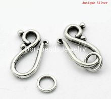 Doreen Box Lovely Toggle Clasps Large Hook Antique Silver 21x12mm 7mm,20 Sets  (B22550)
