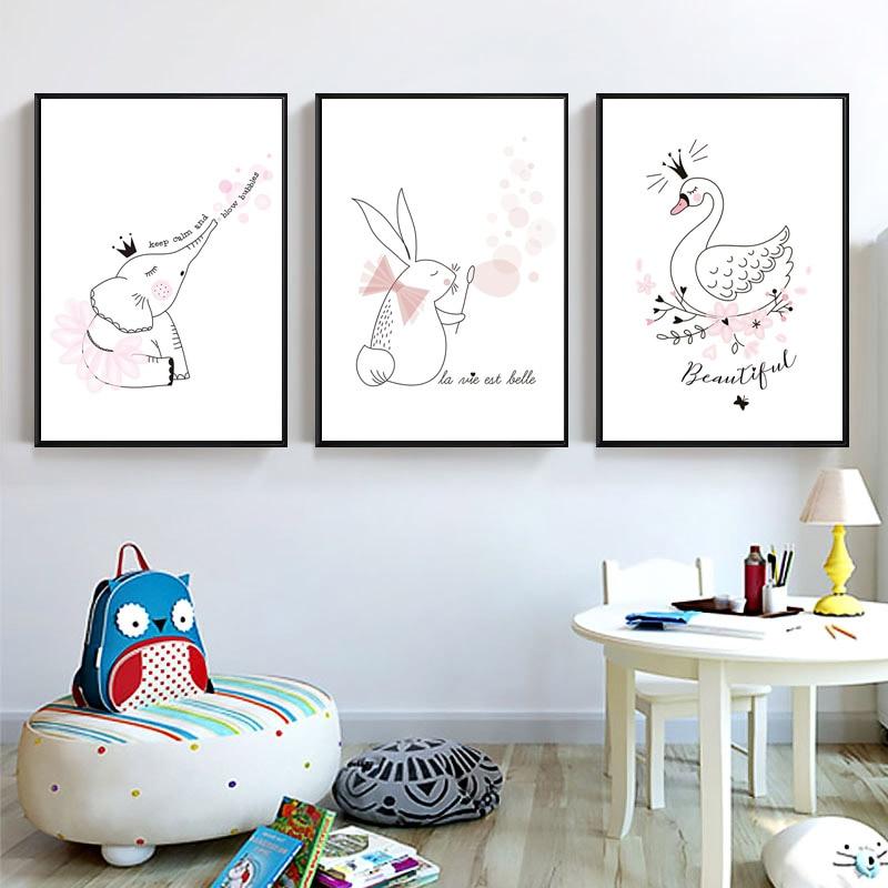 Nordic-Quarto-Dos-Mi-dos-Bonitos-Animal-Posters-E-Impress-es-Rosa-Cisne-coelho-Arte-Da (3)