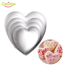 Delidge 5pcs/set Heart Shape Cookie Cutter Cake Decorating Tools Fondant Sugarcraft Candy Cupcake Biscuit Mold DIY Baking Tools