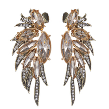 Ltumbe Brand New Statement Jewelry Gold Color Luxury Big Champagne Crystal Angel Wings Stud Earrings For Women Nightclub Jewelry