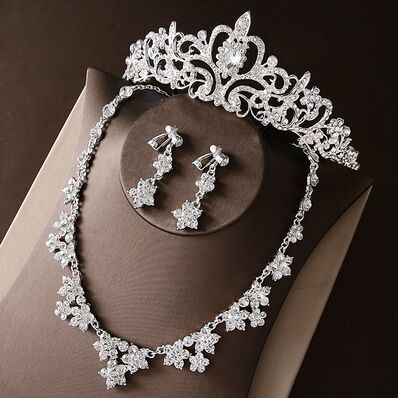 2017 New Silver Crystal Necklace Earrings for Women Wedding Jewelry Sets Whit K Plated Bridal Jewelry Sets With Tiaras & Crowns (9)