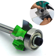"1/4"" shank four teeth trimming knife woodworking milling cutter with bearing wood router edge trimmer"