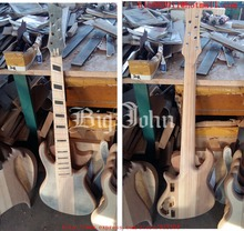 new Big John semi-finished 7 strings fanned electric bass guitar with elm body without hardware no paint F-3404(China)