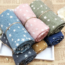 2017 Hot Sell Girl's Kids cotton linen scaves Star Pentagram Warm Shawl Autumn Winter Gift Soft Scarf