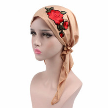 Fashion Rose Embroidery Stretchy Pre-Tied Head Scarf Head Wrap Scarves Cancer Chemo Hair Loss Cap Women Turban Lady Bandana