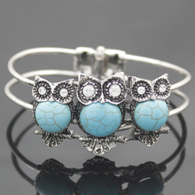 Antique Vitnage Silver Ethnic Aztec Greek Wisdom Owl Gem Hinged Big Wide Bracelet Bangle Cuff Jewelry