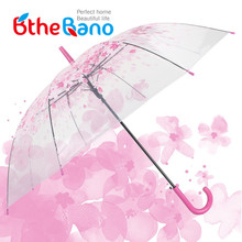 New Fashion Transparent Beach Umbrella Cherry Blossom Mushroom Apollo Princess Women Rain Umbrellas Sakura Long Handle Umbrellas