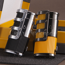 COHIBA Gridding Stripes Style Turbo Lighter Pocket Butane Gas Windproof Triple Torch Jet Flame Cigar Cigarette Lighter W/ Punch(China)