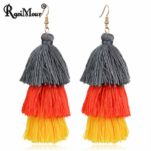 RAVIMOUR Brincos Multilayer Tassel Long Drop Earring Fashion Gold Color Ethnic Boho Female Earing Jewelry 2017 New Dropshipping(China)