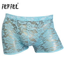 iEFiEL Night Men Sexy Gay Mens Lingerie Sheer Lace Boxer Shorts Rose Flowers Underwear Men's Underpants Panties with Bulge Pouch