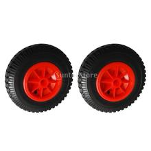 "1 Pair 10""/ 25.4cm Outer Diameter Replacement Puncture Proof Rubber Tyre on Red Wheel for Kayak Canoe Trolley/Trailer/Cart"