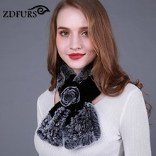 ZDFURS * Lovely Womens Real Rex Rabbit Fur Scarves Rose Design Girls Natural Fur Wraps Winter Soft Muffle ZDS-162008(China)