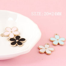 20*24mm 10x/lot Flower Drops of oil Charms Pearl Zinc Alloy Charm For DIY Jewelry Making Bracelet&Necklace&Bangle Accessories