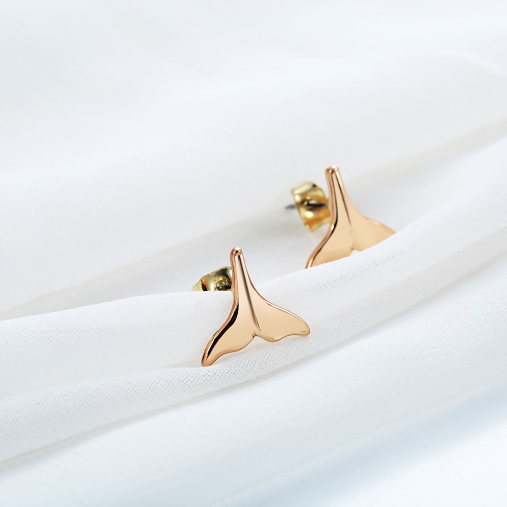 Cute Whale Tail Stud Earrings