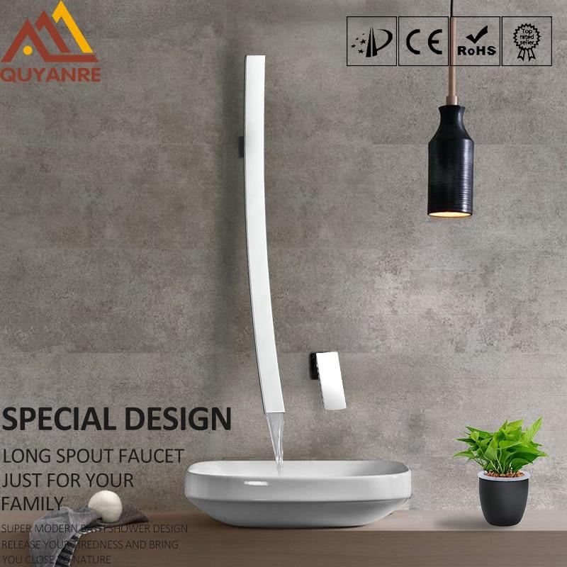 quyanre wanfan frap gappo in wall mounted long spout basin faucet single handle mixer tap bathroom basin faucet waterfall spout