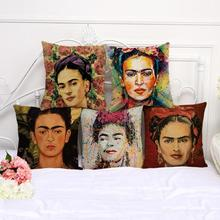 Modern Head Portrait Printing Cotton Linen Throw Pillow Home Sofa Chair Backrest Waist Cushion Square 45*45 Cm