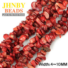 JHNBY Red coral Irregular Gravel beads Natural coral 86cm strand Freeform Chips stone Jewelry bracelet making DIY Accessories