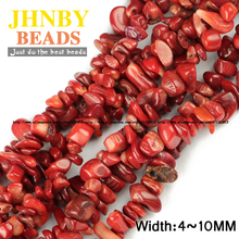 JHNBY Red coral Irregular Gravel beads Natural coral 86cm strand Freeform Chips stone Jewelry bracelet making DIY Accessories()