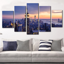 New York City Canvas Paintings 5 Piece Unframed Art Picture Modular Painting Modern Pictures on Wall For Kitchen Living Room(China)