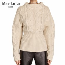 Max LuLu European Brand Designer Fashion Womens Wool Knitted Pullover Thicken Warm Ladies Christmas Sweater Woman Winter Jumper
