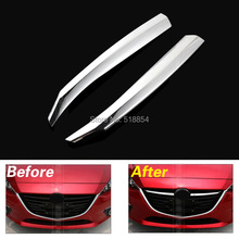 ACCESSORIES FIT FOR 2014 2015 MAZDA 3 AXELA CHROME FRONT MESH HOOD GRILLE COVER TRIM MOLDING GARNISH 3PCS/SET