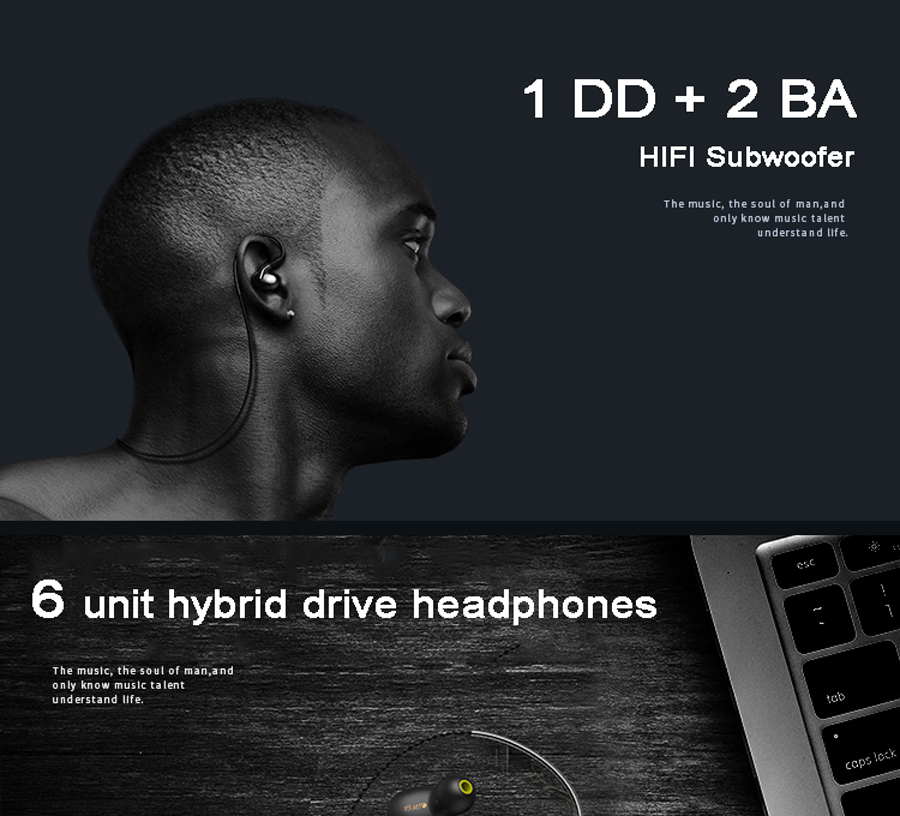 H1 1BA+2DD MMCX Wireless Bluetooth Dynamic Balanced Armature Driver Earphone Replacement Cable for Shure se215 se535 Earbuds