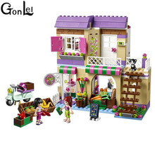 GonLeI 10495 389 Pcs Friends Heartlake Food Market Building Blocks Mia Maya Bricks Toys Compatible for Girls Kids toys Christmas(China)