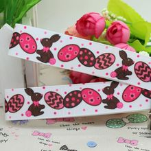 New 7/8'' Free shipping Easter rabbit egg printed grosgrain ribbon hairbow diy party decoration wholesale OEM 22mm P1995