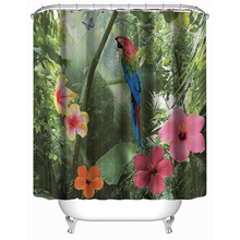 180x180cm Parrot Flower 3D Shower Curtains Waterproof Polyester Bathroom Curtain with 12 Hooks Home Decor(China)