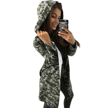 New Autumn Fashion Camouflage Print Trench Coat Women Long Sleeve Hooded Coat Ladies Cardigan Wide-Waisted Outwear Female F3