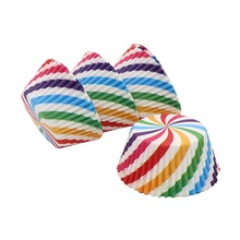 100Pcs Rainbow Cupcake wrapper Paper Liners Muffin Cases Cup Cake Topper Baking Tray Kitchen Accessories Pastry Decoration Tools