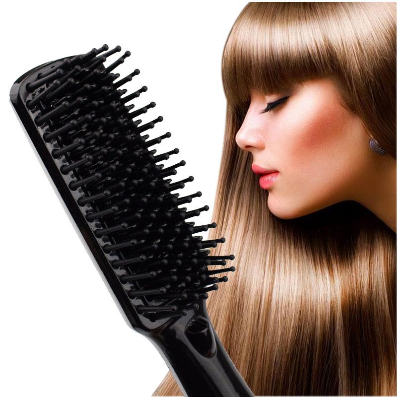 Black Gold Hair Straightening Brush SHOWLISS Portable Electric Hair Brush PTC Heating Ceramic Brush Hair Straightener Comb<br>