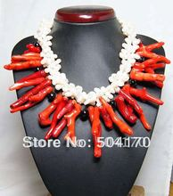 "18-19"" Holiday Party Coral Necklace Coral Beads Fashion Necklace Irregular Red Coral Jewelry Free Shipping CRN0037"