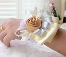 hot satin ribbon bouquet wrist flower bride and bridesmaid  hand flower corsage in wedding and party 4pcs/lot